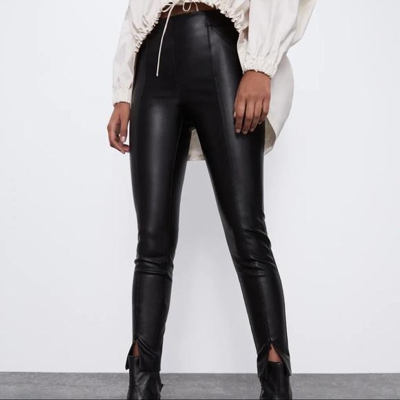 Zara Vegan Leather Leggings